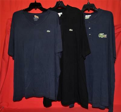 Lot of 3 Men's Lacoste Polo & T-Shirt Size 10R 10L 11L 3XL 4XL