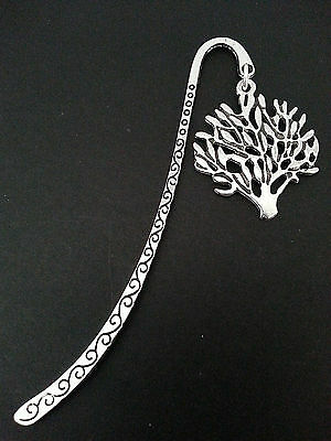 New Collectable Antique Silver Tone Metal Bookmark with Tree of Life Charm V2L