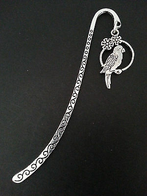 New Collectable Antique Silver Tone Metal Bookmark with Parrot Bird Shape Charm