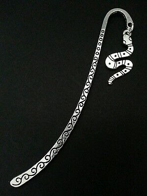 New Collectable Antique Silver Tone Metal Bookmark with Serpant Snake Charm