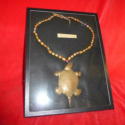 Rare Ca 1850 Native American Indian Hudson Bay Copper Turtle /fur Trade Necklace