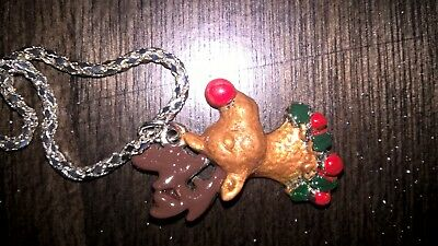 beautifully hand painted my me reindeer necklace