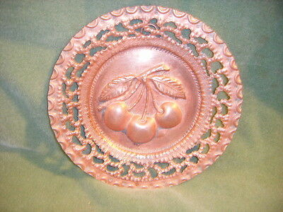 Solid Copper Filigree Wall Plaque/ Hanging W/ Embossed Cherries Striking