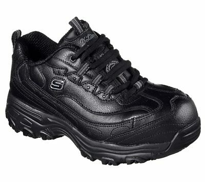 76596 W Wide Black Skechers shoe Women Work Memory Foam Slip Resistant Alloy Toe