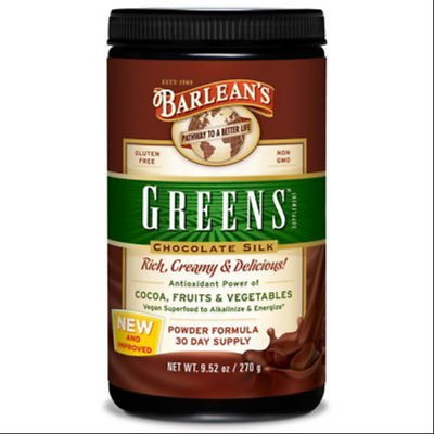 Barlean's Organic Greens Powder *CHOCOLATE SILK* Barleans - Same Day Dispatch
