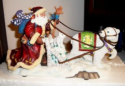 San Francisco Music Box Winter Harmony Santa In Sleigh Music Numbered  Mint