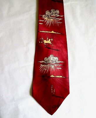 Original SALVADOR DALI TIE  Vintage 1940's Fashion Craft Cravats Silk Necktie