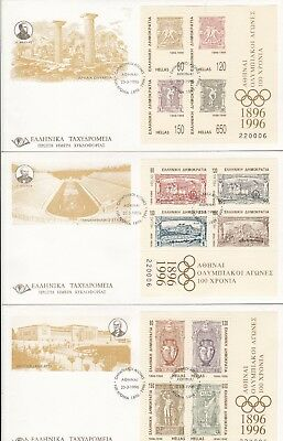 Stamps Greece 1996 Centenary of Olympic Games set of 3 mini sheets on FDC's