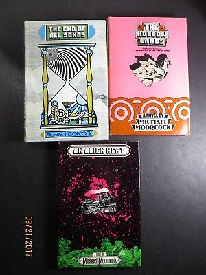 Vintage Lot of 3 Michael Moorcock Hardback Books BCE with DJ  Hollow Lands