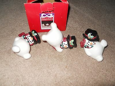FITZ AND FLOYD SNOWMAN TUMBLERS ORIG BOX Free Shipping