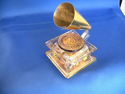 Vintage Glass & Tin Toy Phonograph Inkwell Candy Container Circa 1920