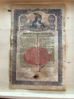Rate Uncancelled 1924 Gold Bond German External Loan $1000