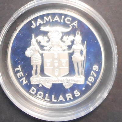 Jamacia  1979 International Year of the Child  $10 Silver  Proof  Coin Cricket