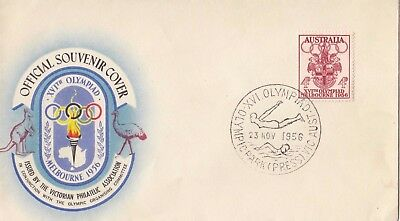 Olympic Games 1956 stamps Australia on souvenir cover swimming & diving postmark