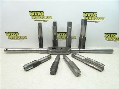 """Wells Bros. #7 Tap Wrench W/ 8 Hss Taps 13/16""""-10 To 1-1/4""""-12Nf P&w Gtd R&n"""