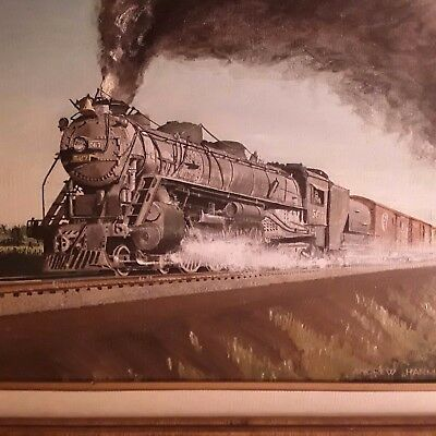 ORIGINAL Oil painting by noted/listed Railroad scene painter Andrew G. Harmantas