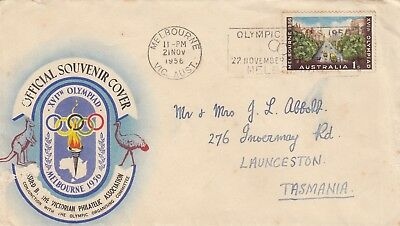 Olympic Games 1956 stamp Australia on souvenir cover Melbourne slogan postmark