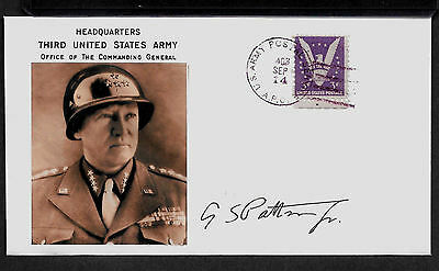 George S Patton Collector's Envelope with genuine 1944 Postage Stamp *A584
