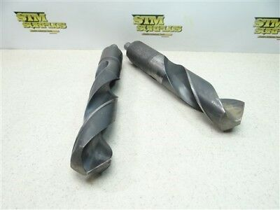 "Pair Of Heavy Duty Hss Reduced Shank Drills 1-5/8"" & 1-3/4"" Cle-Forge"