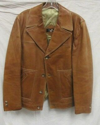 Vintage Mens Cortefiel Retro Leather Jacket Coat Lined Size 44 Spain Made