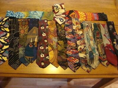 Vintage Collection Of 17 Silk Beatles Ties ~  Apple Corps Manhattan ~