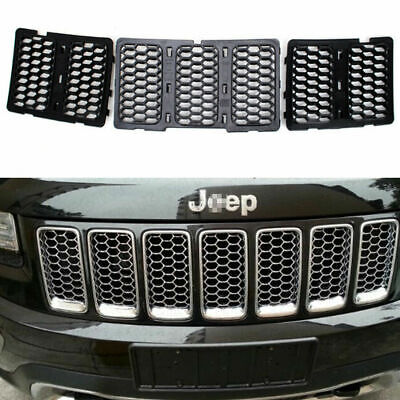 7pc Hot  Black ABS Front Mesh Grill Insert Kit For Jeep Grand Cherokee 2014-2016