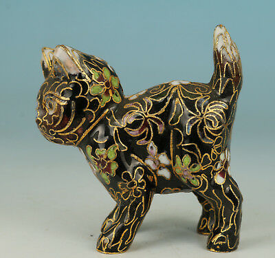 Chinese Black Cloisonne Collection Handmade Painting Cat Statue Figure