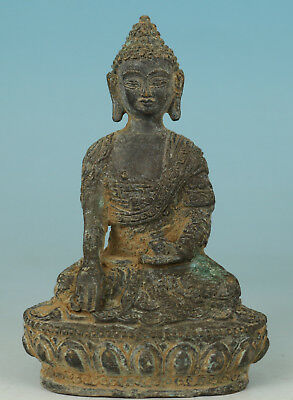 Chinese Tibet Old Bronze Collection Handmade Carved Buddha Figure Statue