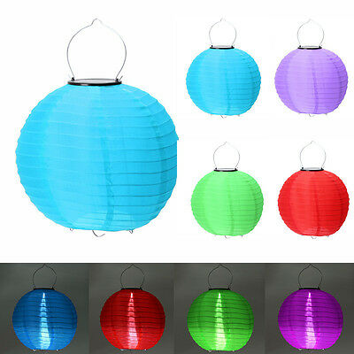 8''/10''/12'' Solar Chinese Nylon Fabric Lantern Lamp Lighting Halloween Xmas