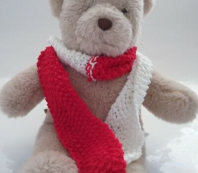 Teddy Bear Clothes, Handmade Red and White Hand Knitted Scarf