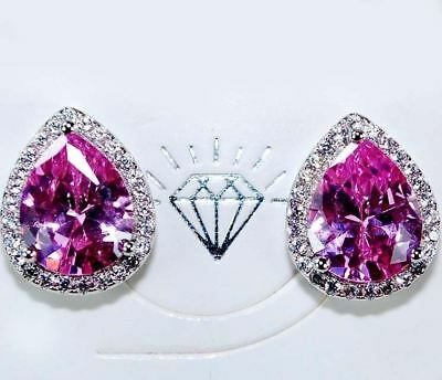 4CT Pink Sapphire & White Topaz 925 Solid Sterling Silver Earrings Jewelry, T5-7