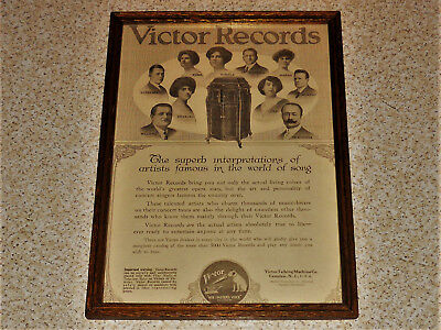 "Victor Records Victor Talking Machine Co Vintage Framed Early 1900's AD 9""x13"""