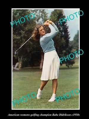 OLD LARGE HISTORIC PHOTO OF AMERICAN WOMENS GOLF CHAMPION BABE DIDRIKSON c1950s