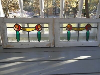"""MA12-293 Lovely Older Leaded Stained Glass """"English Roses"""" Window 3 Available"""