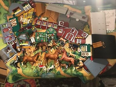 Breyer Playset Lot w/ 15 Horses, Playmat, Barn Set, Animals, Misc