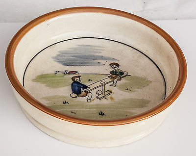 Antique Child's Feeding Bowl Children and See-Saw Naive Design Possibly Australi