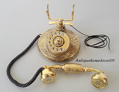Collectible Antique Solid Brass Stunning Vintage Beautiful Working Telephone