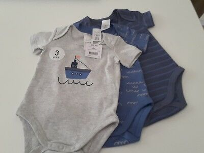 NEW Tiny Little Wonders Baby Boy Rompers 3 pack - Size 000 Fits 0-3 mths