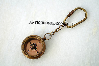 LOT OF100 PCS Beautiful 1917 Brass Antique Compass Key Chains WHOLE SALE PRICE