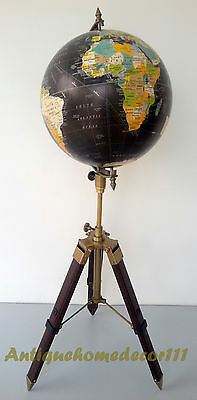 "Industrial Vintage Style World Globe 12"" On Metal Tripod Stand Authentic Table"