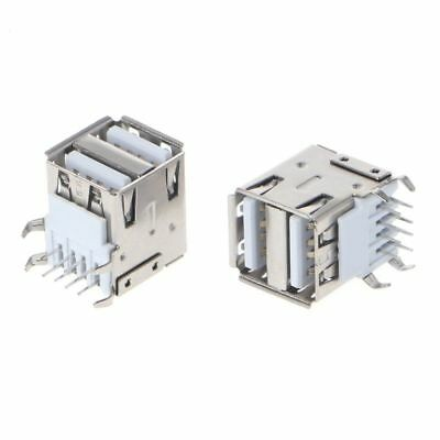 10xDual USB 2.0 Female Type A 8-Pin DIP Right Angle Jack Socket Connector
