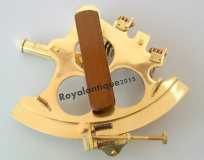 "Nautical Solid Brass Sextant  6"" Maritime Marine Navigational Golden Finish Gift"