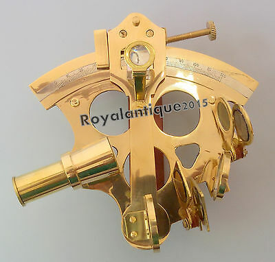 "Nautical Solid Brass Sextant Maritime Navigational Marine Instrument Golden 5"".."