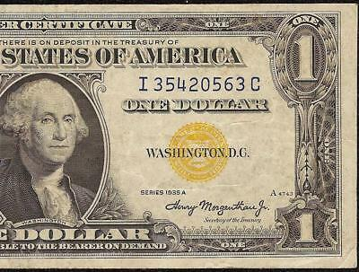 1935A $1 One Dollar Bill Silver Certificate Wwii Ww2 Currency Yellow Seal Note