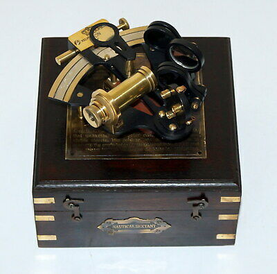 Vintage nautical sextant marine kelvin & hughes london wooden box christmas gift