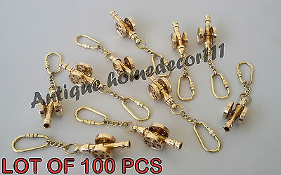 Vintage Solid Brass Canon Key Chain Nautical Handmade Key Ring Lot Of 100 Pcs..