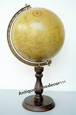 Vintage World Globe Solid Wood Base North America Ocean With Best Gift Item