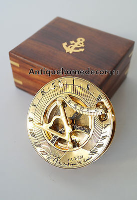 "Vintage 3"" Maritime Solid Brass Sundial Compass Nautical Marine With Wooden Box"