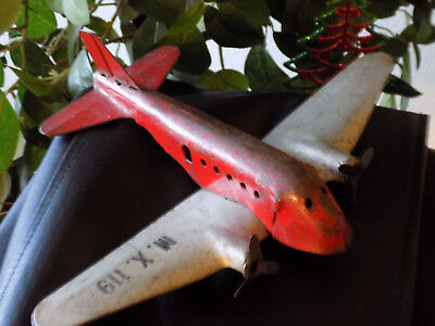 Antique Cast Iron Steel Toy Airplane All Original