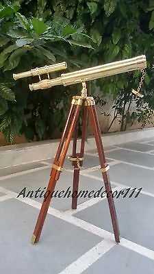 """Marine Navy Nautical Brass 18"""" Telescope With Wooden Tripod Desk Top Stand Gift"""